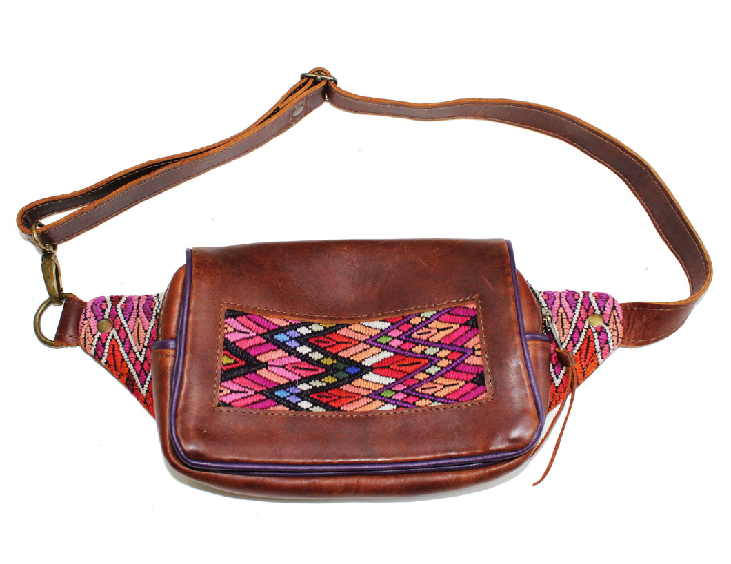 MoonLake Designs Hip Belt in handcrafted dark tan leather with purple leather trim