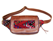 Load image into Gallery viewer, MoonLake Designs Hip Belt in handcrafted medium tan leather with purple leather trim