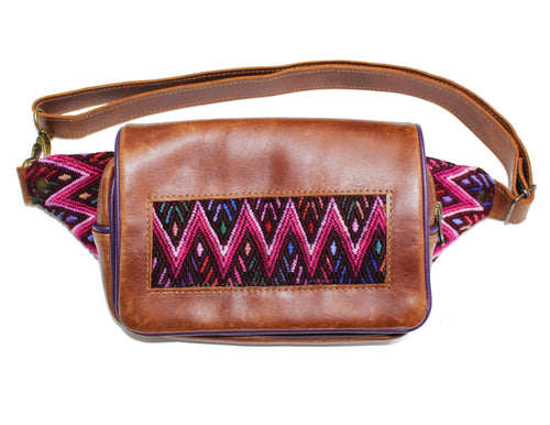 MoonLake Designs Hip Belt in handcrafted medium tan leather with purple leather trim