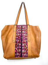 Load image into Gallery viewer, MoonLake Designs Canasta Large 2 in 1 Tote Bag in Pear Tan with pink huipil design on front