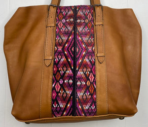 MoonLake Designs Canasta Large 2 in 1 Tote Bag in Pear Tan with pink huipil design on front close up view