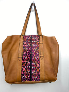 MoonLake Designs Canasta Large 2 in 1 Tote Bag in Pear Tan with pink huipil design on front