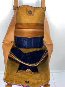 MoonLake Designs Canasta Large 2 in 1 Tote Bag interior view of Pear Tan rough out leather interior with removable center compartment in blue huipil