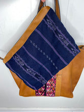 Load image into Gallery viewer, MoonLake Designs Canasta removable center compartment with handwoven blue huipil design