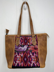 MoonLake Designs handmade unique Carmela Small Everyday Tote in Pear Tan Leather – front view