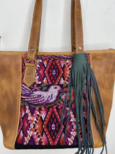 Load image into Gallery viewer, MoonLake Designs handmade unique Carmela Small Everyday Tote in Pear Tan Leather – close up of huipil design
