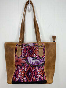 MoonLake Designs handmade unique Carmela Small Everyday Tote in Pear Tan Leather – back view