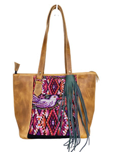MoonLake Designs handmade unique Carmela Small Everyday Tote in Light Tan Leather with handwoven huipil design featuring birds flowers and patterns and removable dark green leather tassel