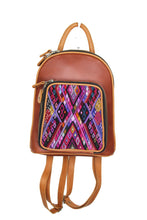 Load image into Gallery viewer, Petite small cute backpack purse in red brown leather and pear leather straps and accents.. It has double zipper openings. Front pocket is eye catching with a geometric purple, black, pink and pear yellow textile. this pocket has storage for pens and credit cards. Main compartment has two open pockets and a zipper pocket.
