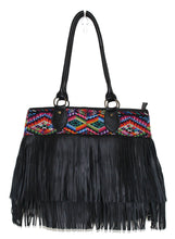Load image into Gallery viewer, MoonLake Bags Ethical Fashion Brand large DEDE fringe over the shoulder bag in black leather and handwoven geometric huipil