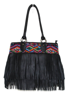 MoonLake Bags Ethical Fashion Brand large DEDE fringe over the shoulder bag in black leather and handwoven geometric huipil