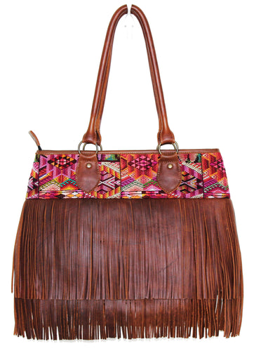 MoonLake Bags Ethical Fashion Brand medium DEDE fringe over the shoulder bag in dark tan leather and handwoven geometric huipil