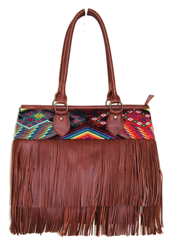 MoonLake Bags Ethical Fashion Brand medium DEDE fringe over the shoulder bag in red brown leather and handwoven geometric huipil