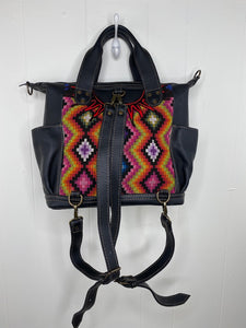 MoonLake Designs Elena Convertible Day bag with adjustable and removable backpack straps made from black leather