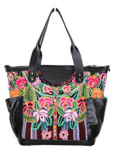 Load image into Gallery viewer, MoonLake Designs Elena medium convertible day bag in handcrafted black leather with handwoven floral huipil design in pinks, purples, oranges, and green