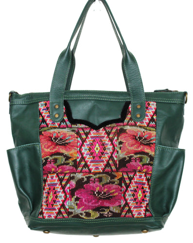 MoonLake Designs Elena medium convertible day bag in dark green leather with eye catching geometric and floral handwoven huipil