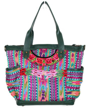 Load image into Gallery viewer, MoonLake Designs Elena medium convertbile day bag in dark green leather and handwoven floral and geometric huipil in pinks, greens, and blues