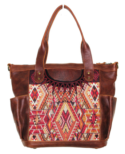 MoonLake Designs Elena medium convertible day bag in dark tan leather with mayan handwoven huipil in sunset colors