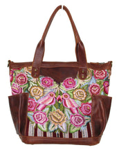 Load image into Gallery viewer, MoonLake Designs Elena medium convertible day bag in dark tan leather with handwoven floral and wildlife huipil design.