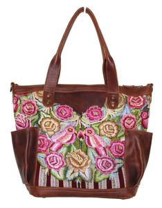 MoonLake Designs Elena medium convertible day bag in dark tan leather with handwoven floral and wildlife huipil design.
