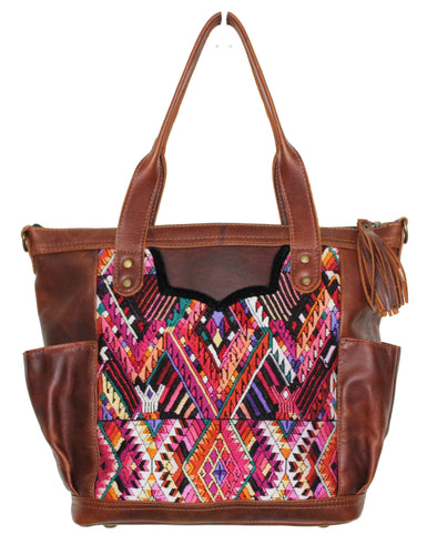 MoonLake Designs Elena medium convertible day bag in dark tan leather with eye catching geometric handwoven huipil