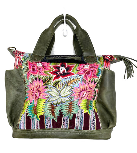 MoonLake Designs Elena Medium Convertible Day bag in dark green leather with beautiful handwoven flowers huipil design