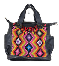 Load image into Gallery viewer, MoonLake Designs Elena Medium Convertible Day bag in black leather with beautiful handwoven traditional geometric huipil design in warm colors including pink, orange, purple, red, and yellow