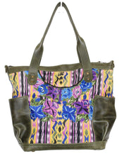 Load image into Gallery viewer, MoonLake Designs Elena medium convertible day bag in green leather and beautiful handwoven floral and geometric huipil in blues, greens, yellow, and purple