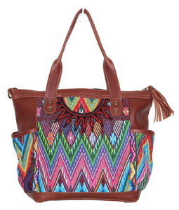 MoonLake Designs Elena medium convertible day bag in reddish brown leather with eye catching geometric handwoven huipil