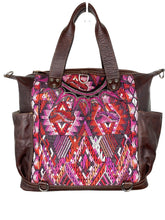 Load image into Gallery viewer, MoonLake Designs handmade Gabriella Large Convertible Day Bag in Textured Dark Chocolate Leather with interior leather pocket and multi-color handwoven huipil designs including pinks purples and reds