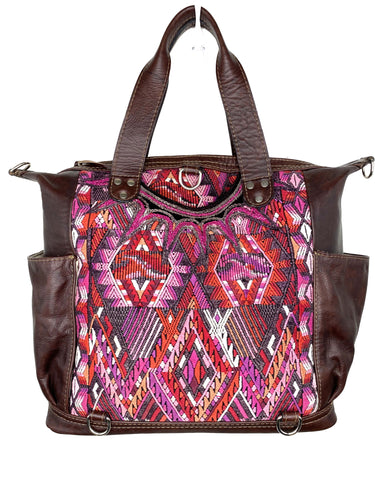 MoonLake Designs handmade Gabriella Large Convertible Day Bag in Textured Dark Chocolate Leather with interior leather pocket and multi-color handwoven huipil designs including pinks purples and reds