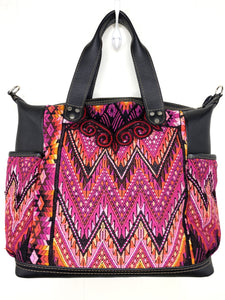 MoonLake Designs handmade Gabriella Large Convertible Day Bag in Black Leather with textile pocket and multi-color handwoven huipil design in warm colors