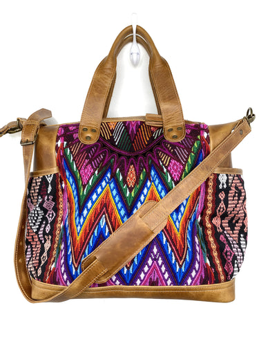 MoonLake Designs handmade Gabriella Large Convertible Day Bag in Light Tan Leather with textile pocket and multi-color handwoven huipil designs including pinks blue and orange with removable and adjustable crossbody strap and drop handles