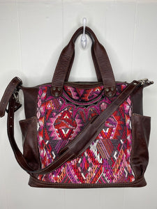 MoonLake Designs handmade Gabriella Large Convertible Day Bag with matching leather removable and adjustable crossbody strap and leather shoulder pad