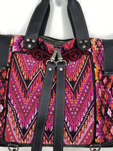 Load image into Gallery viewer, MoonLake Designs handmade Gabriella Large Convertible Day Bag close up view of removable backpack straps and huipil design