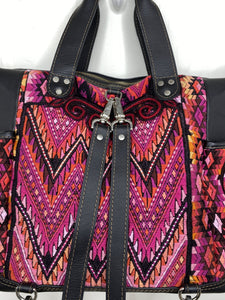 MoonLake Designs handmade Gabriella Large Convertible Day Bag close up view of removable backpack straps and huipil design