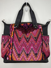 Load image into Gallery viewer, MoonLake Designs handmade Gabriella Large Convertible Day Bag in Black Leather with textile pocket and multi-color handwoven huipil design in warm colors