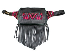 Load image into Gallery viewer, MoonLake Designs Hip Belt with fringe in handcrafted black leather with green leather trim
