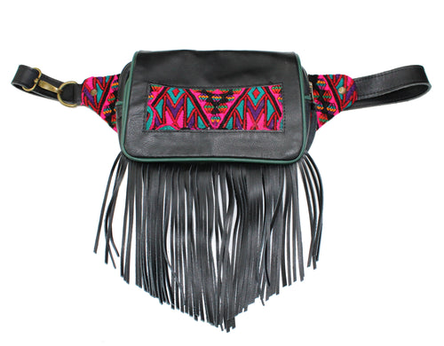 MoonLake Designs Hip Belt with fringe in handcrafted black leather with green leather trim