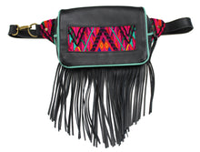 Load image into Gallery viewer, MoonLake Designs Hip Belt with fringe in handcrafted black leather with teal leather trim