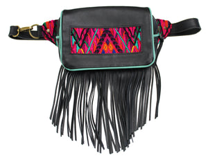 MoonLake Designs Hip Belt with fringe in handcrafted black leather with teal leather trim