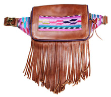 Load image into Gallery viewer, MoonLake Designs Hip Belt with fringe in handcrafted medium tan leather