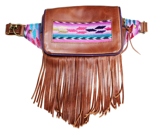 MoonLake Designs Hip Belt with fringe in handcrafted medium tan leather