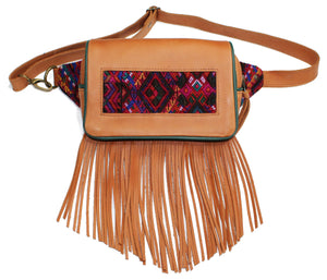MoonLake Designs Hip Belt with fringe in handcrafted pear tan leather