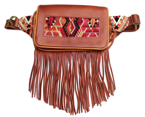 MoonLake Designs Hip Belt with fringe in handcrafted burnt sienna red brown leather