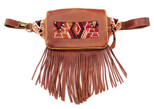 Load image into Gallery viewer, MoonLake Designs Hip Belt with fringe in handcrafted burnt sienna red brown leather