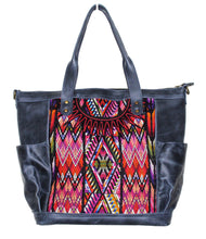 Load image into Gallery viewer, MoonLake Designs Gabriella large convertible day bag in black leather with eye catching geometric handwoven huipil