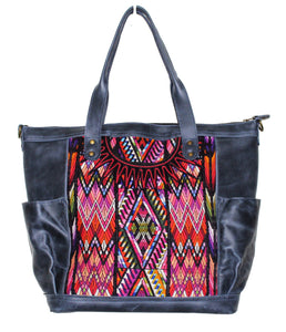 MoonLake Designs Gabriella large convertible day bag in black leather with eye catching geometric handwoven huipil