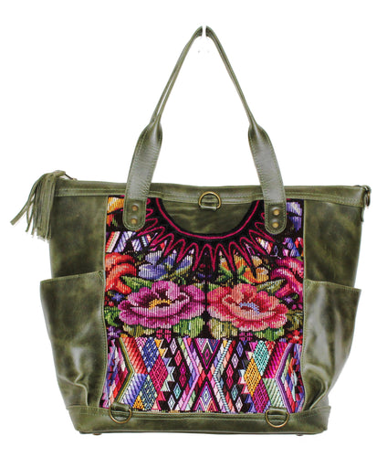 MoonLake Designs Gabriella large convertible day bag in green leather with eye catching geometric and floral handwoven huipil