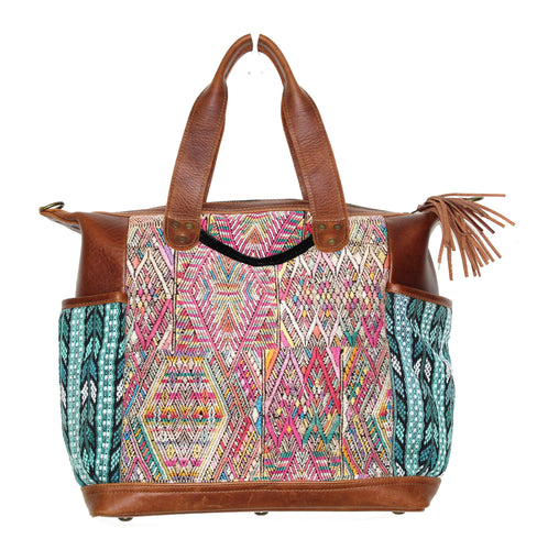 MoonLake Designs Gabriella large convertible day bag in medium tan leather with intricate geometric handwoven chichicastengo huipil design